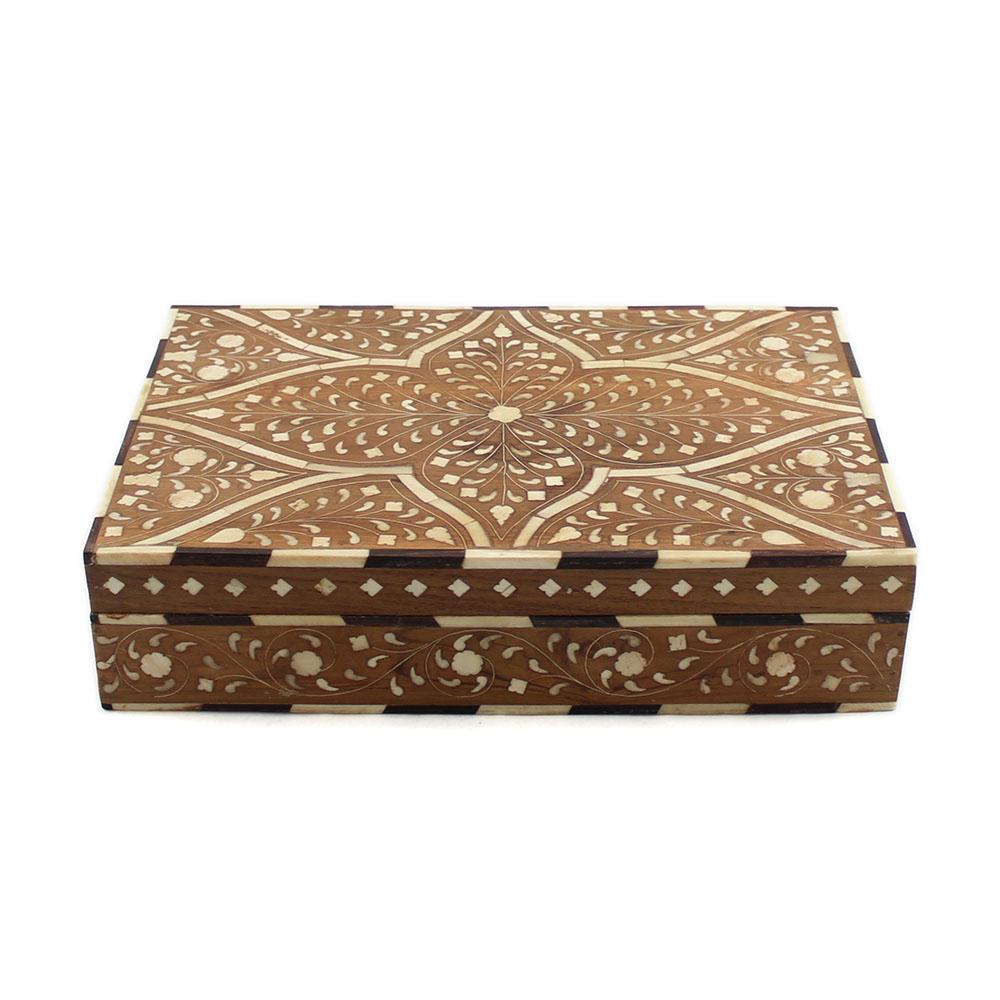 Decorative Bone Boxes : Wooden taj bone inlay decorative box roomattic