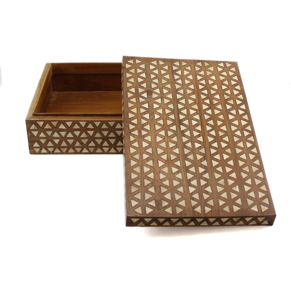 Wooden Decorative Boxes: Wooden Tikona Bone Inlay Decorative Box