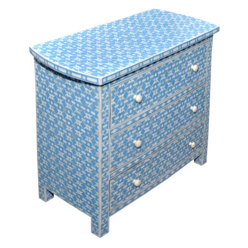 Roomattic Aqua Blue Bone Inlay Chest of Drawers Dresser