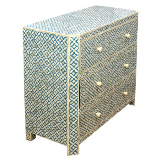 Roomattic Aqua Blue Bone Inlay Chest of Drawers Dresser