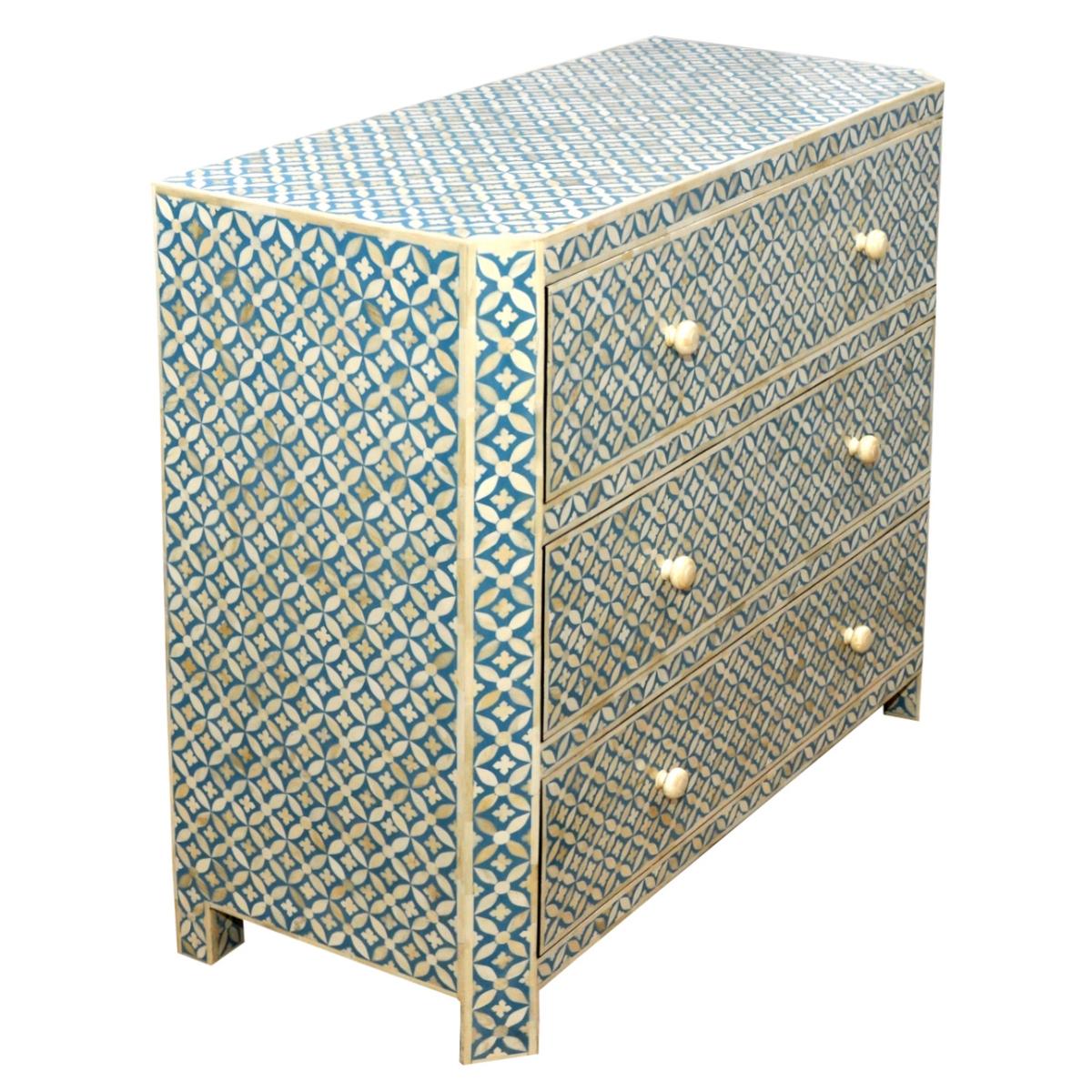 info for 3c03f 83622 Roomattic Aqua Blue Bone Inlay Chest of Drawers/ Dresser
