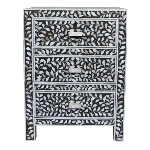 Roomattic Black Three Drawer Mother of Pearl Inlay Bedside Nightstand Side Table R5036 1