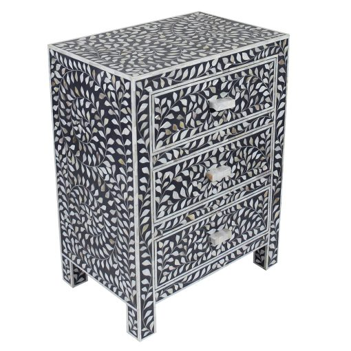 Roomattic Black Three Drawer Mother of Pearl Inlay Bedside Nightstand Side Table R5036 2