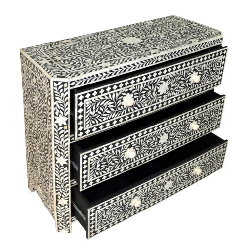 Roomattic Classic Amira Black Bone Inlay Chest of Drawers Dresser