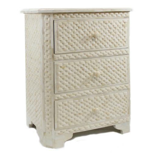 Roomattic Classic Ivory Interwoven Bone Inlay Chest of Drawers Dresser Bedside Table
