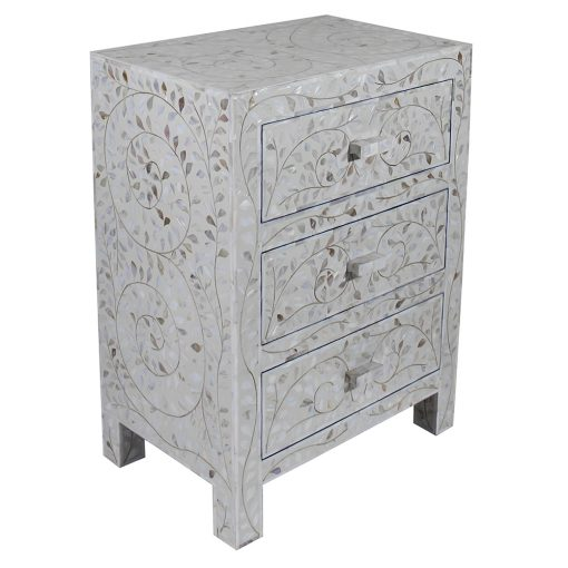 Roomattic Classic White Three Drawer Mother of Pearl Inlay Bedside Nightstand Side Table R5030 2