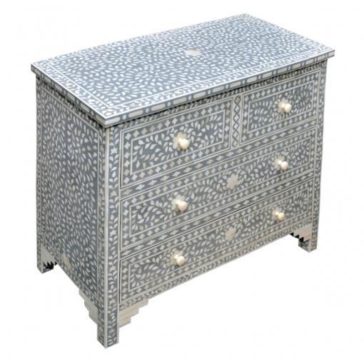 Roomattic Dark Grey Bone Inlay Chest of Drawers Dresser