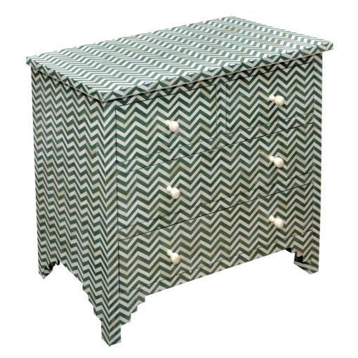 Roomattic Green Chevron Bone Inlay Chest of Drawers Dresser