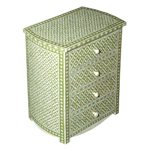 Roomattic Green Four Drawer Bone Inlay Chest of Drawers Dresser