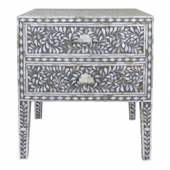 Roomattic Grey Mother of Pearl Inlay Bedside Nightstand Side Table R5042 1