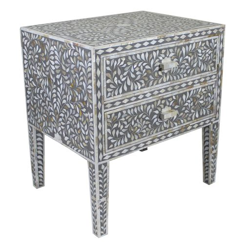 Roomattic Grey Mother of Pearl Inlay Bedside Nightstand Side Table R5042 2