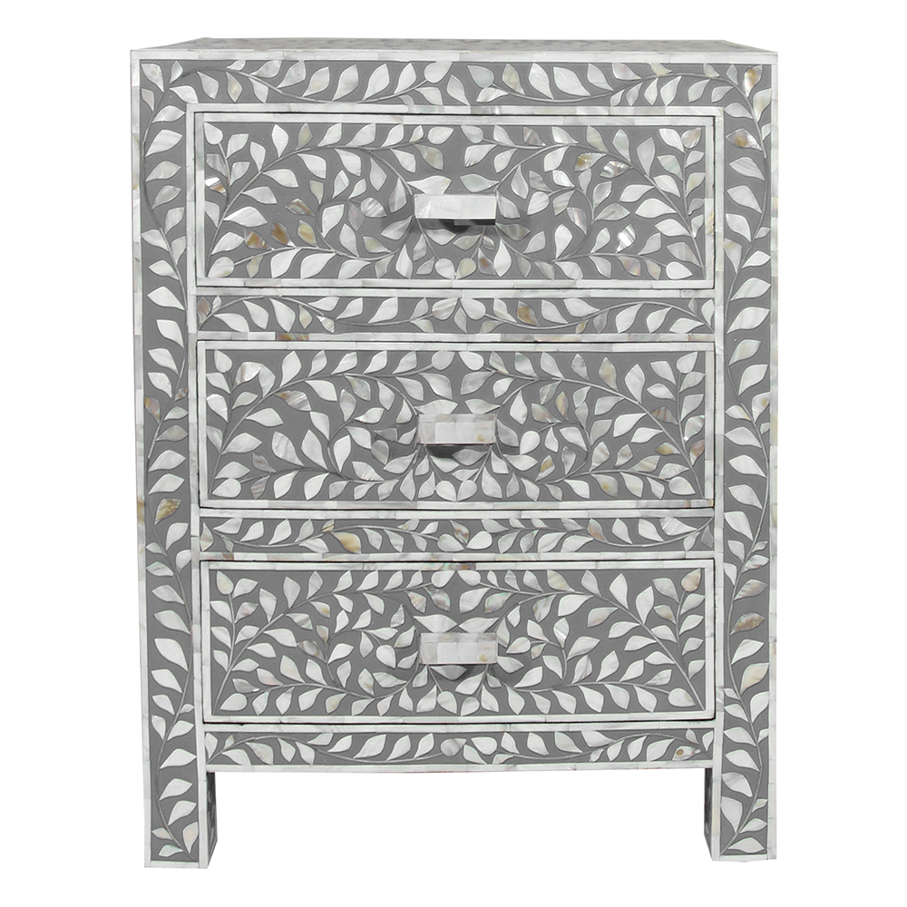 Roomattic Grey Three Drawer Mother Of Pearl Inlay Bedside Nightstand Side Table R5039 1