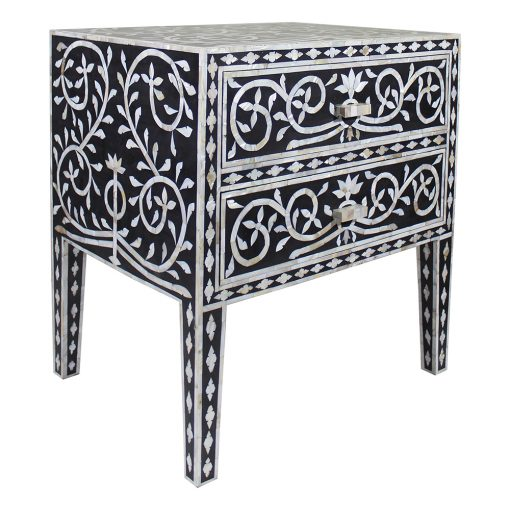 Roomattic Gustakh Bone Inlay Bedside Nightstand Side Table R5027 2