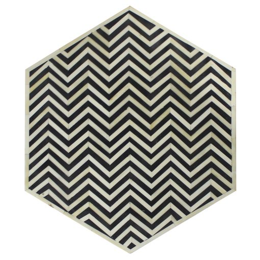 Roomattic Hexagonal Chevron Black Bone Inlay Stool End Table Side Table