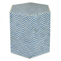Roomattic Hexagonal Chevron Blue Bone Inlay Stool End Table Side Table