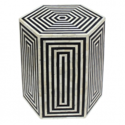 Roomattic Hexagonal Striped Black Bone Inlay Stool End Table Side Table