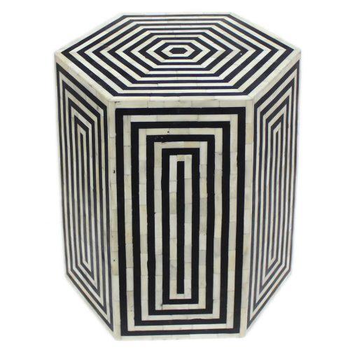 Roomattic Hexagonal Striped Black Bone Inlay Stool End Table Side Table
