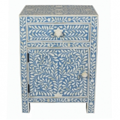 Roomattic Imperial Aqua Blue Bone Inlay Bedside Nightstand Side Table R5015 1