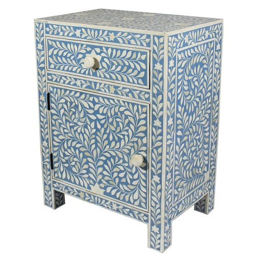Roomattic Imperial Aqua Blue Bone Inlay Bedside Nightstand Side Table R5015 2