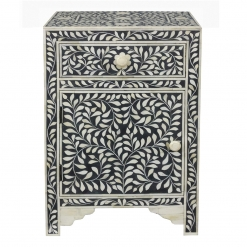 Roomattic Imperial Black Bone Inlay Bedside Nightstand Side Table