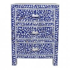 Roomattic Lapiz Blue Three Drawer Mother of Pearl Inlay Bedside Nightstand Side Table R5033 1