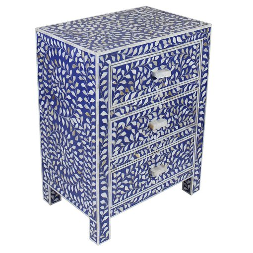 Roomattic Lapiz Blue Three Drawer Mother of Pearl Inlay Bedside Nightstand Side Table R5033 2