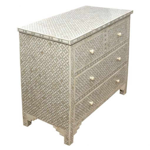 Roomattic Light Grey Bone Inlay Chest of Drawers Dresser