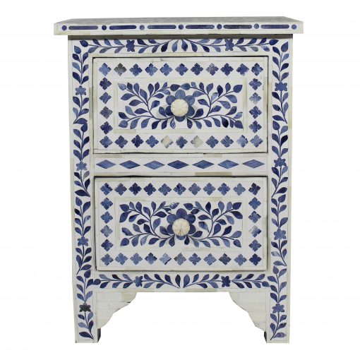 Roomattic Mahal Blue Bone Inlay Bedside Nightstand Side Table R5048  1