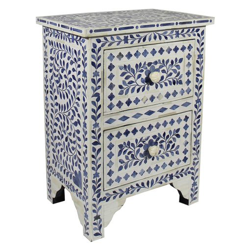 Roomattic Mahal Blue Bone Inlay Bedside Nightstand Side Table R5048  2