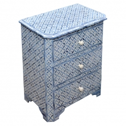 Roomattic Mahal Blue Bone Inlay Chest of Drawers Dresser Bedside Table