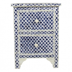 Roomattic Marrakech Blue Bone Inlay Bedside Nightstand Side Table R5022 1
