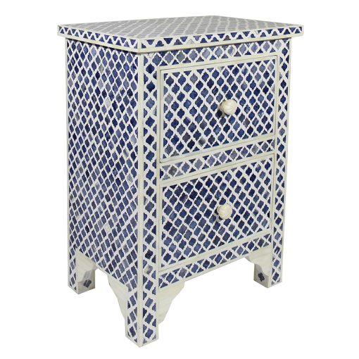 Roomattic Marrakech Blue Bone Inlay Bedside Nightstand Side Table R5022 2