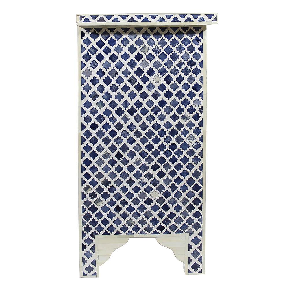 Roomattic Marrakech Blue Bone Inlay Bedside Nightstand Side Table R5022 3