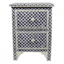 Roomattic Marrakech Grey Bone Inlay Bedside Nightstand Side Table R5021 1