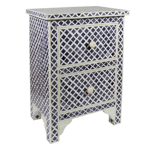 Roomattic Marrakech Grey Bone Inlay Bedside Nightstand Side Table R5021 2