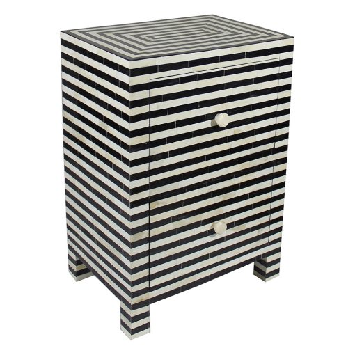 Roomattic Monochrome Striped Bone Inlay Bedside Nightstand Side Table R5045 1