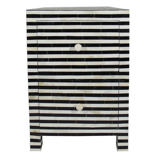 Roomattic Monochrome Striped Bone Inlay Bedside Nightstand Side Table R5045 2