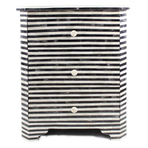 Roomattic Monochrome Striped Bone Inlay Three Drawer Bedside/ Nightstand/ Side Table (Copy)