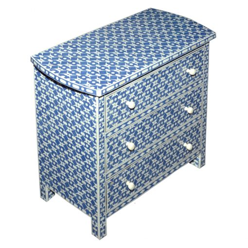 Roomattic Navy Blue Bone Inlay Chest of Drawers Dresser