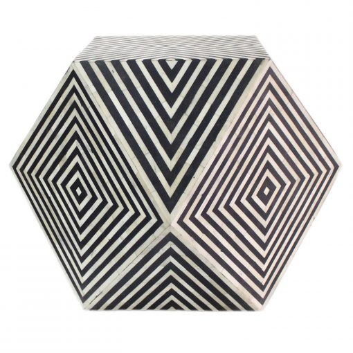 Roomattic Octagonal Bone Inlay Stool End Table Side Table