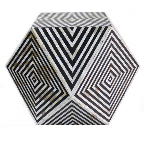 Roomattic Octagonal Mother of Pearl Inlay Stool End Table Side Table