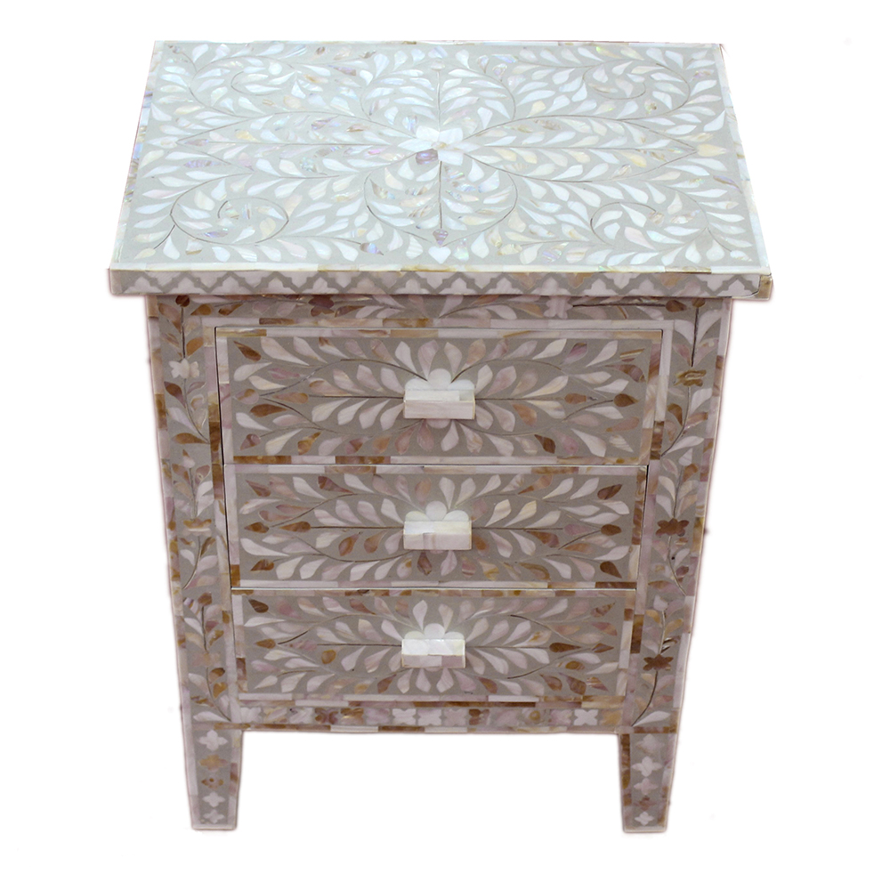 Roomattic Shamiana Mother Of Pearl Inlay Bedside Nightstand Side Table R5018 1