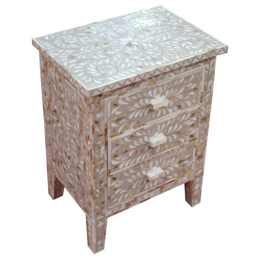 Roomattic Shamiana Mother of Pearl Inlay Bedside Nightstand Side Table R5018 2