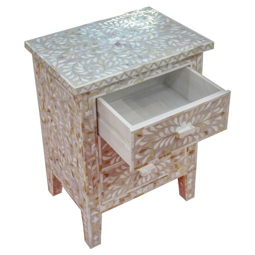 Roomattic Shamiana Mother of Pearl Inlay Bedside Nightstand Side Table R5018 3