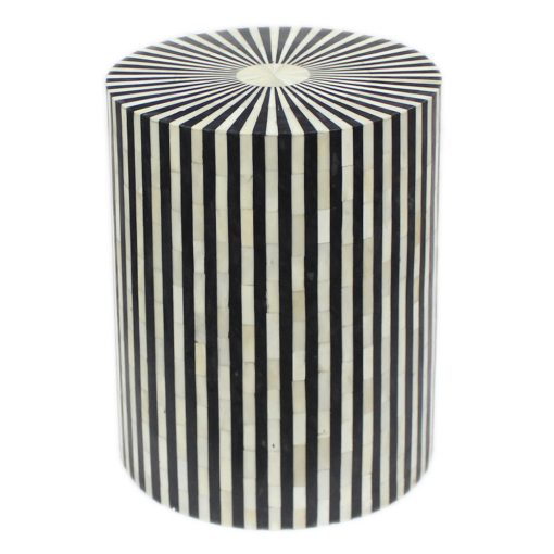 Roomattic Striped Monochrome Bone Inlay Round Stool End Table Side Table