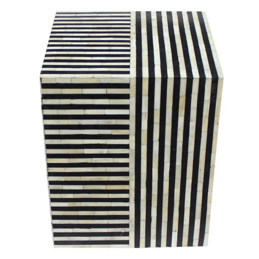 Roomattic Striped Monochrome Cube Bone Inlay Stool End Table Side Table