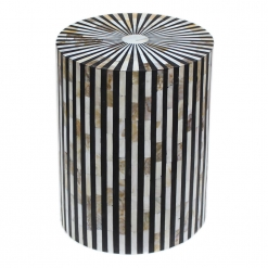 Roomattic Striped Monochrome Mother of Pearl Inlay Round Stool End Table Side Table