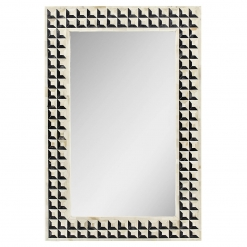 Roomattic Black & Ivory Chessboard Bone Inlay Mirror
