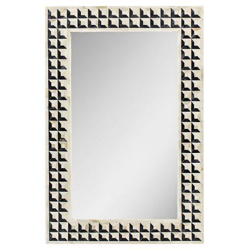 Roomattic Black & Ivory Chessboard Bone Inlay Mirror