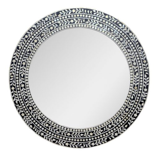 Roomattic Gustakh Black Round Bone Inlay Mirror